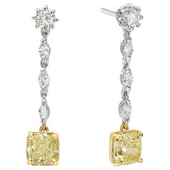 18 Karat Yellow and White Gold Yellow Diamond Dangle Earrings
