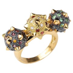 18K Yellow Blackened Gold and Multicoloured Gemstone, Spiked Sphere Kinetic Ring