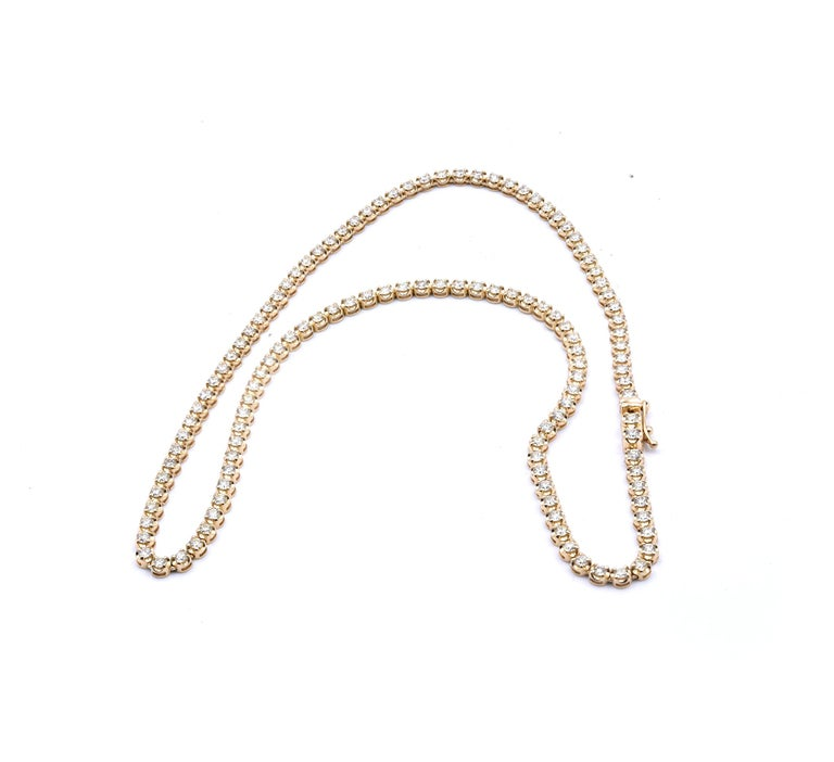 14 Karat Yellow Diamond Tennis Necklace In Excellent Condition For Sale In Scottsdale, AZ
