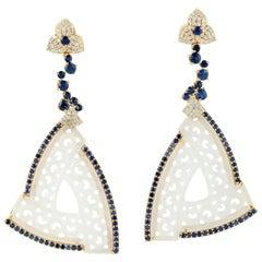 18k Yellow Gold 0.63ct Diamond 2.9ct Sapphire 27.5ct Jade Carving Dangle Earring