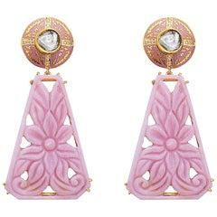 18k Yellow Gold 0.7ct Rose Cut Diamond 54.4ct Pink Opal Carving Dangle Earrings