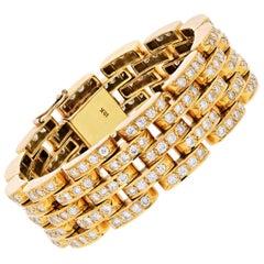 18 Karat Yellow Gold 10.00 Carat Round Cut Diamond Link Bracelet
