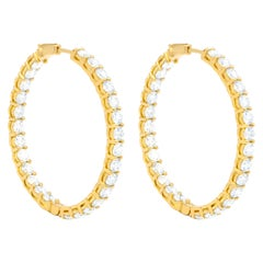 18 Karat Yellow Gold 10.30 Carat Diamond Hoop Earrings