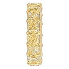 18k Yellow Gold 14.28 Carats Fancy Yellow Cushion Cut Eternity Band