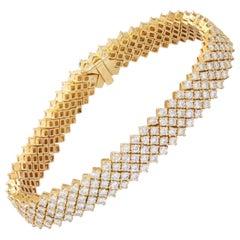 18k Yellow Gold 14ct VS Clarity Diamond Five Row Line Bracelet