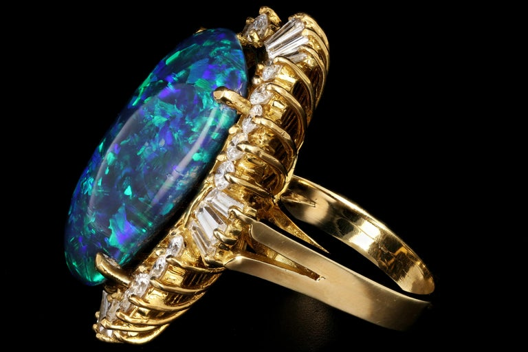 18 Karat Yellow Gold 20 Carat Black Opal and Diamond Cocktail Ring In Excellent Condition For Sale In Cape May, NJ