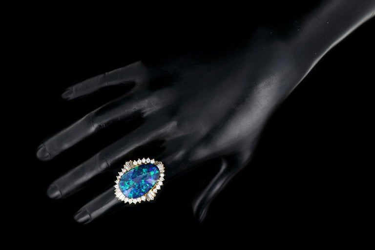 18 Karat Yellow Gold 20 Carat Black Opal and Diamond Cocktail Ring For Sale 4