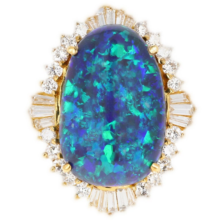 18 Karat Yellow Gold 20 Carat Black Opal and Diamond Cocktail Ring For Sale
