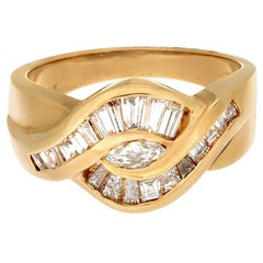 18 Karat Yellow Gold 22-Diamond Marquise and Baguette Band Ring