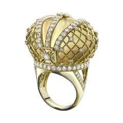 18K Yellow Gold 4.67 Carat Diamond Cabochon Citrine Cocktail Ring