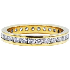 18 Karat Yellow Gold .50 Carat Channel Set Diamond Eternity Band Ring