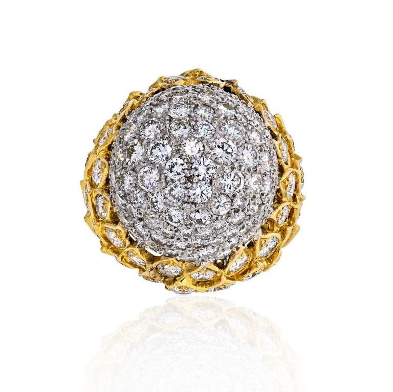 18K Yellow & White Gold 8 carat Diamond Dome Cluster Ring. Diamond carat weight: 8 carats Quality: G-H color, VS-SI clarity Width: 24.6mm  Off the finger: 15mm Size 6.25