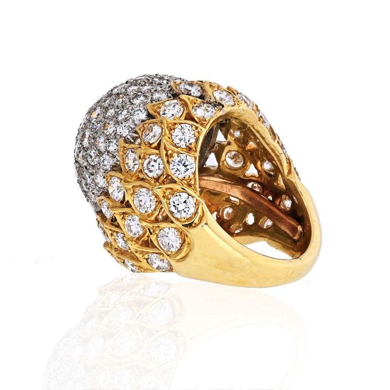 Modern 18 Karat Yellow Gold 8 Carat Diamond Bombe Cluster Ring For Sale