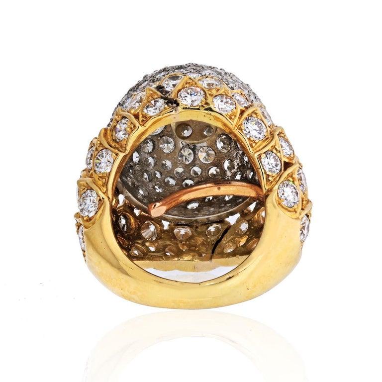 Brilliant Cut 18 Karat Yellow Gold 8 Carat Diamond Bombe Cluster Ring For Sale