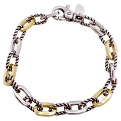 18k Yellow Gold 925 Oval Link Bracelet Rope Silver Alternating w 18k Yellow Gold