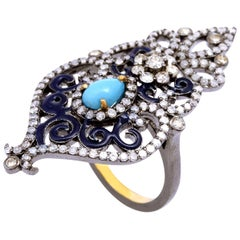 18k Yellow Gold .925 Sterling Silver 1.7 CT Diamond 1 CT Turquoise Cocktail Ring