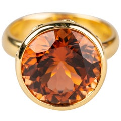 18 Karat Yellow Gold 9.74 Carat Pink and Orange Tourmaline Ring