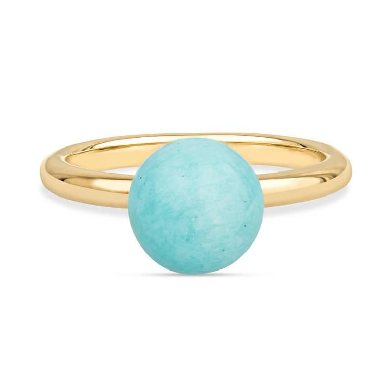 18K Yellow Gold Amazonite Bead Ring In New Condition For Sale In Houston, TX