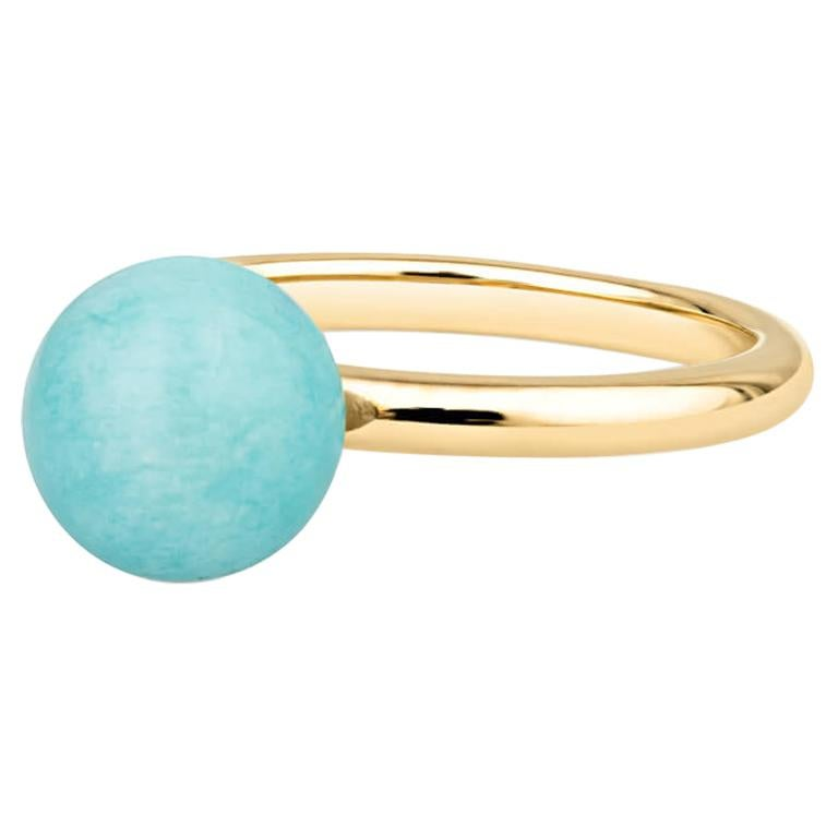 18K Yellow Gold Amazonite Bead Ring For Sale