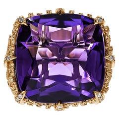 18k Yellow Gold, Amethyst & Diamond Dendritic Ring