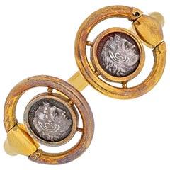 18K Yellow Gold Ancient Coin Bypass Bracelet