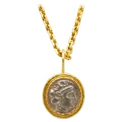 18K Yellow Gold Ancient Coin Pendant