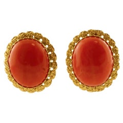 18 Karat Yellow Gold and Big Coral Stud Earrings