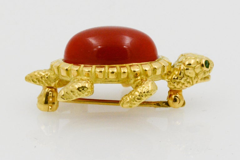 Women's 18 Karat Yellow Gold and Coral Turtle Pin For Sale
