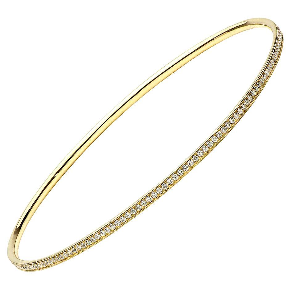 18K Yellow Gold and Diamond Bangle