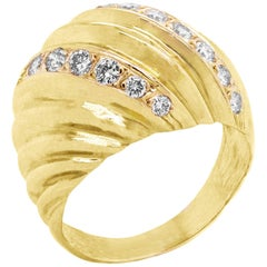 18 Karat Yellow Gold and Diamond Dome Ring