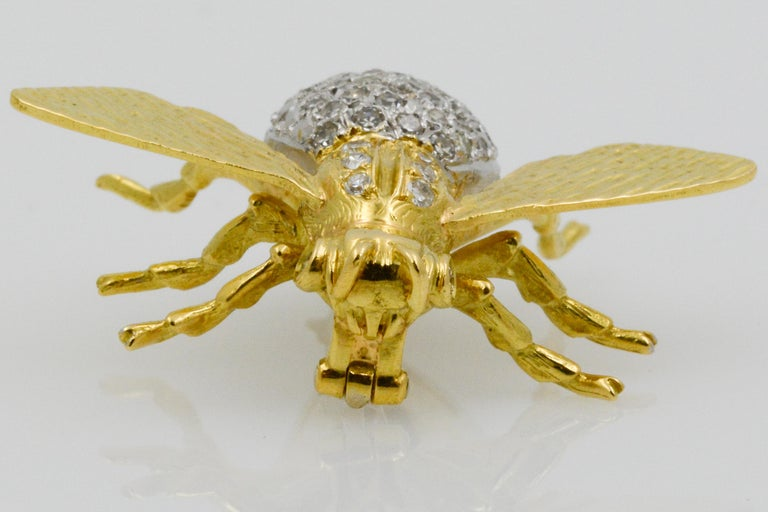 Modern 18 Karat Yellow Gold and Diamond Fly Pin For Sale