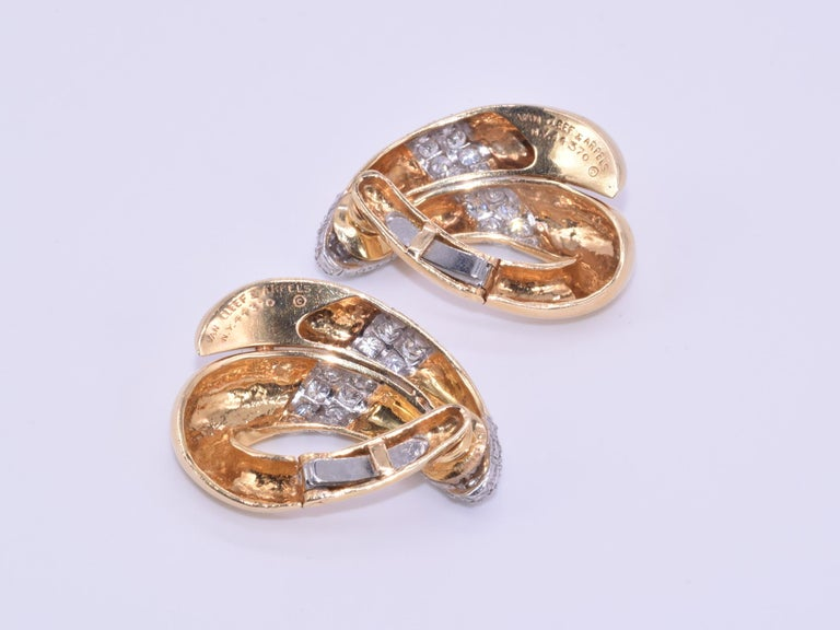 Round Cut 18 Karat Yellow Gold and Diamond Hoop Earrings by Van Cleef & Arpels circa 1950s For Sale