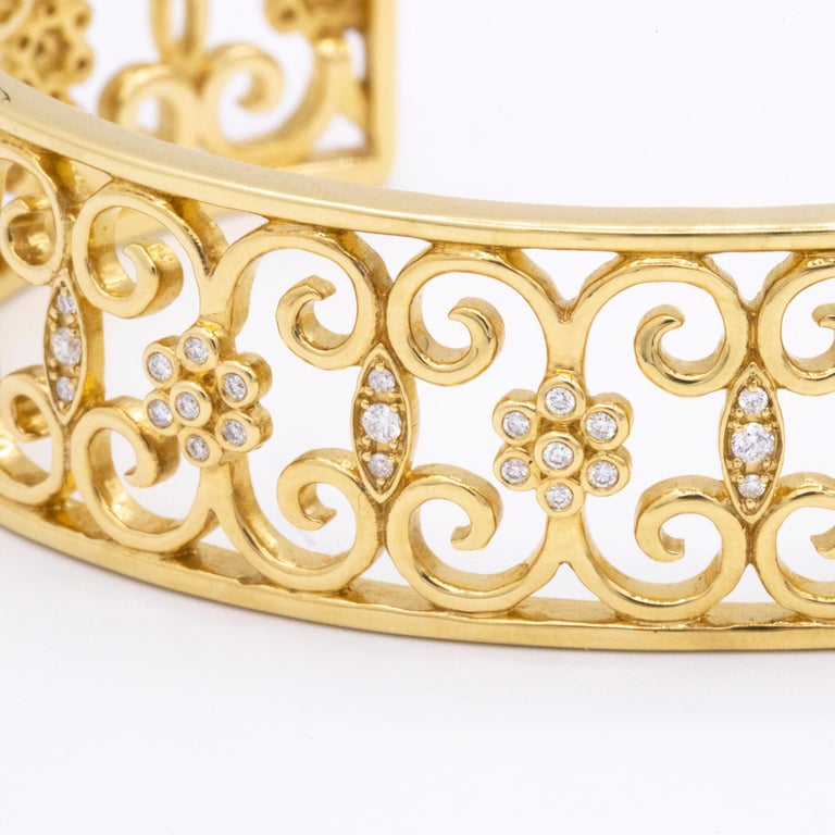 18 Karat Yellow Gold and Diamond Open Cuff Arabesque Bracelet In New Condition For Sale In Princeton, NJ