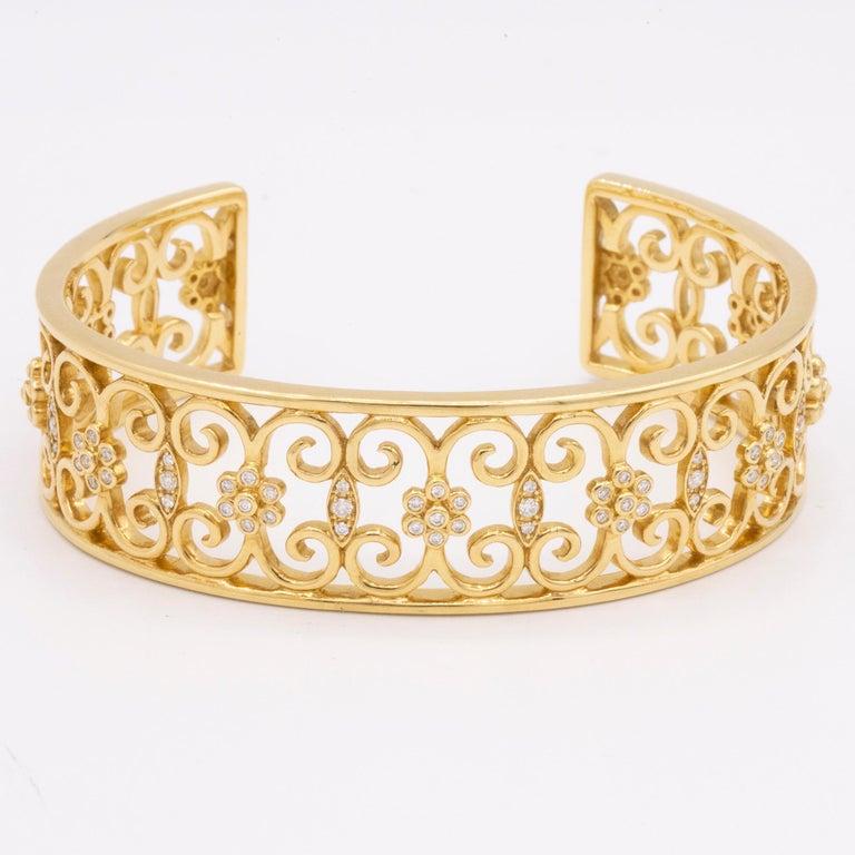 Women's 18 Karat Yellow Gold and Diamond Open Cuff Arabesque Bracelet For Sale