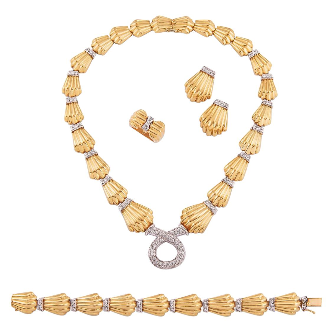 18K Yellow Gold and Diamond Set Suite
