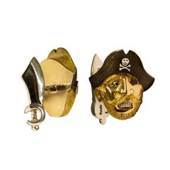 18 Karat Yellow Gold and Enamel Pirate Cufflinks
