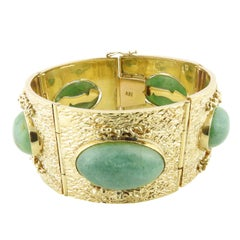 18k Yellow Gold and Oval Jade Wide Panel Bracelet