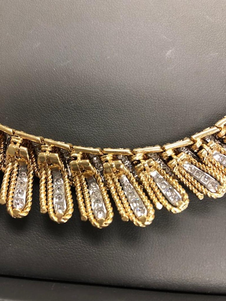 18K Yellow Gold and Platinum Choker Length Diamond Necklace In Good Condition In New York, NY