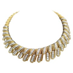 18K Yellow Gold and Platinum Choker Length Diamond Necklace