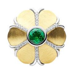18k Yellow Gold and Platinum Diamond Cocktail Ring with 0.80 Carat Green Garnet