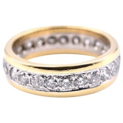 18 Karat Yellow Gold and Platinum Diamond Eternity Band