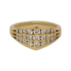 18K Yellow Gold and Round Brilliant Cut Three Row Ring, 0.92 Carats Total