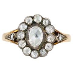 2.20 Carat Diamond Yellow Gold and Silver Ring