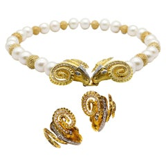 18k Yellow Gold and White Diamond Earrings Ram Head Cultured Pearl Necklace Set