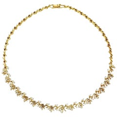 18k Yellow Gold and White Round Brilliant Cut Diamond Collar Necklace Jose Hess