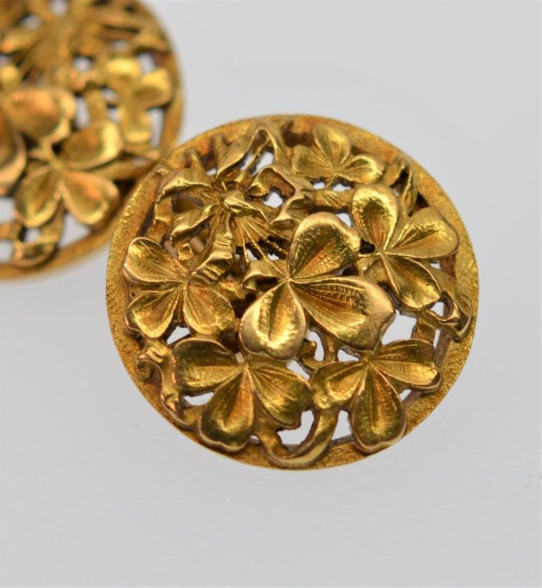 Art Nouveau 18K Yellow Gold Antique Clover Cuff Links For Sale