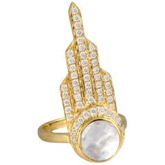 18K Yellow Gold Art Deco Style Cocktail Ring Mother of Pearl Quartz and Diamonds