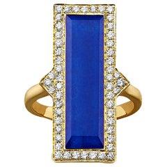 18K Yellow Gold Art Deco Ring with Lapis Lazuli Rock Crystal Quartz and Diamonds