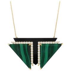 18K Yellow Gold Art Deco Style Necklace w/Malachite, Black Onyx & Diamonds