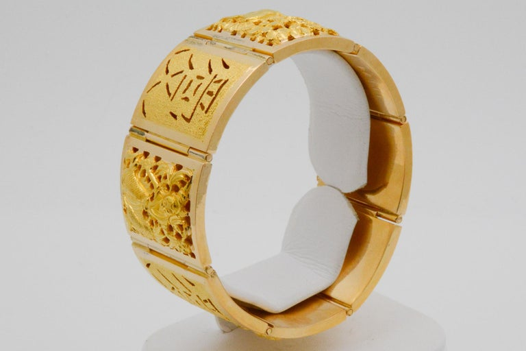 18 Karat Yellow Gold Asian Four Season Panel Bracelet For Sale 5